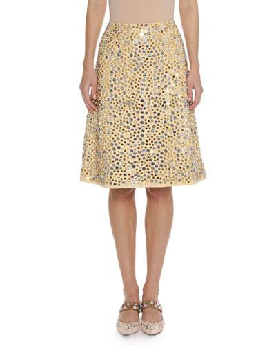 Embellished Faux-Suede Skirt