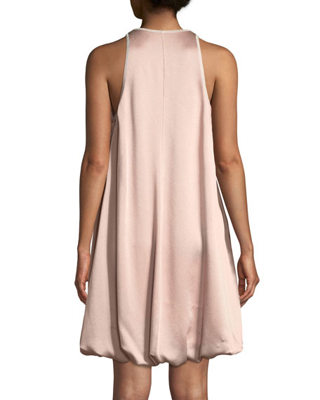 Sleeveless Bubble-Hem Hammered Satin Cocktail Dress