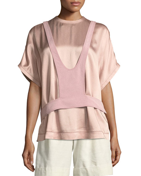 Short-Sleeve Hammered Satin Blouse with Overlay Detail
