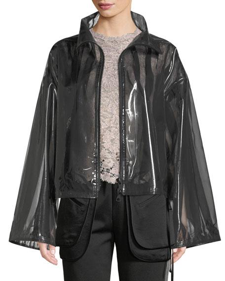 Zip-Front Chiffon-Lined PVC Jacket