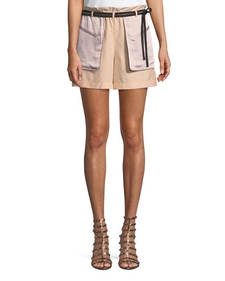 Inside-Out Pocket Hammered Lamé Shorts