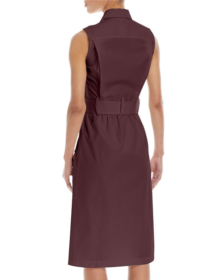 Sleeveless Belted Button-Front Utility Shirtdress