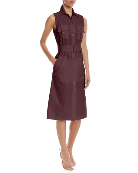 Derek Lam Sleeveless Belted Button-Front Utility Shirtdress