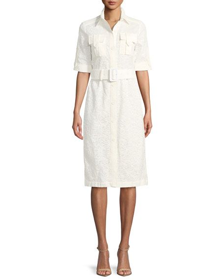 Derek Lam Short-Sleeve Button-Down Lace Shirtdress
