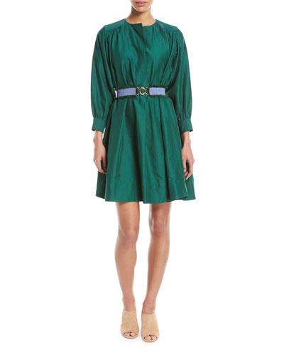 Long-Sleeve Belted Oversized Cotton Dress
