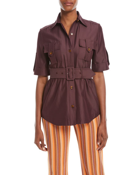 Derek Lam Short-Sleeve Belted Utility Shirt and Matching