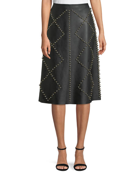 Derek Lam Studded A-Line Midi Leather Skirt