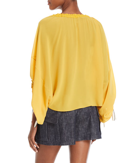 Scoop-Neck Balloon-Sleeve Silk Blouse with Drawstring Detail