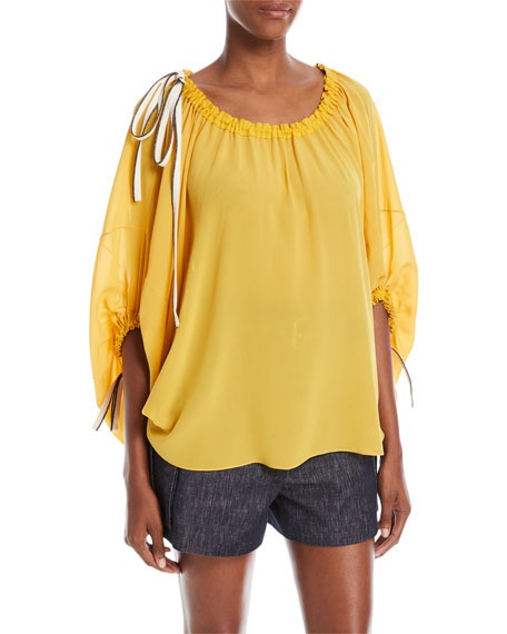 Derek Lam Scoop-Neck Balloon-Sleeve Silk Blouse with Drawstring