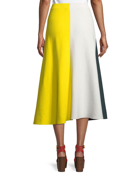 Colorblocked Cotton Knit Midi Skirt