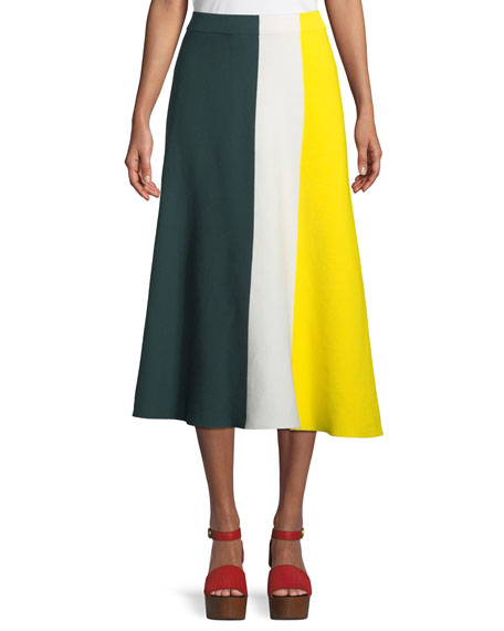 Derek Lam Colorblocked Cotton Knit Midi Skirt