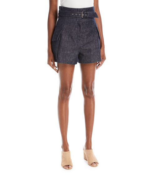 Derek Lam High-Waist Belted Denim Shorts with Patch