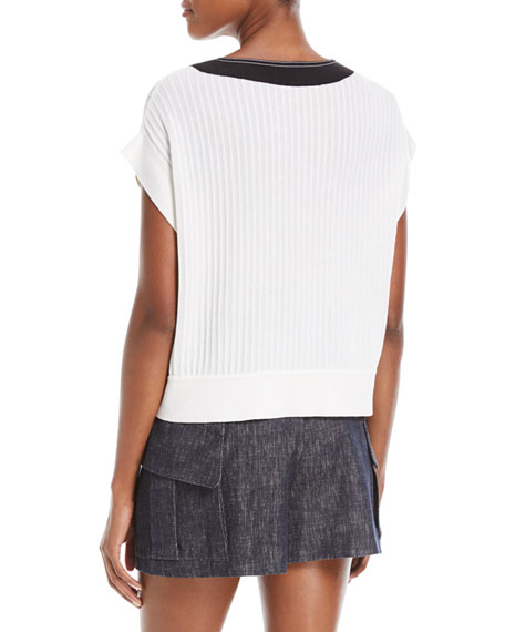 Lace-Up Front Short-Sleeve Knit Sweater