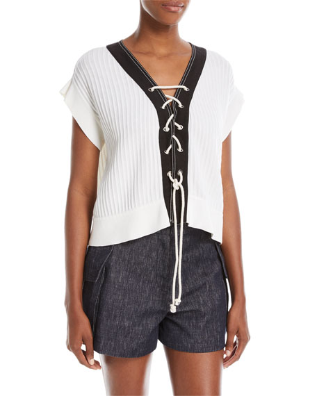 Derek Lam Lace-Up Front Short-Sleeve Knit Sweater