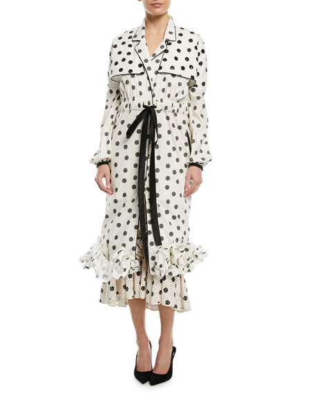 Johanna Ortiz Dragon Pearl Polka Dot-Print Self-Belt Long-Sleeve