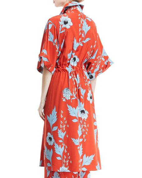 Camino Real Persa Garden-Print Silk Robe-Style Caftan
