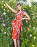 Image 2 of 3: Kalahari Bow-Front Peplum-Waist Garden-Print Dress