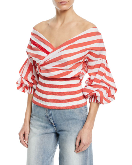 Zanzibar Off-the-Shoulder Wrap Striped Poplin Top