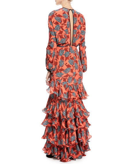 Libro De Esther Bow-Front Long-Sleeve Floral-Print Silk Dress with Flamingo Hem
