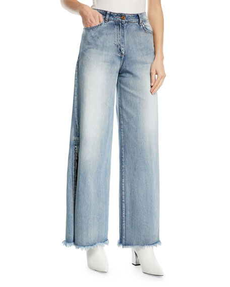 Mombasa High-Waist Wide-Leg Jeans with Side Slits