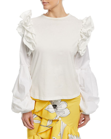Johanna Ortiz Kyoto Crewneck Ruffled-Shoulders Cotton Blouse