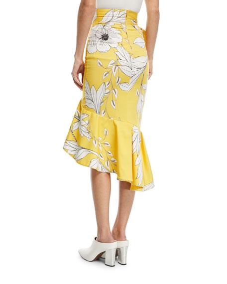 Lychee High-Waist Asymmetric Ruffle Tangled-Garden Skirt