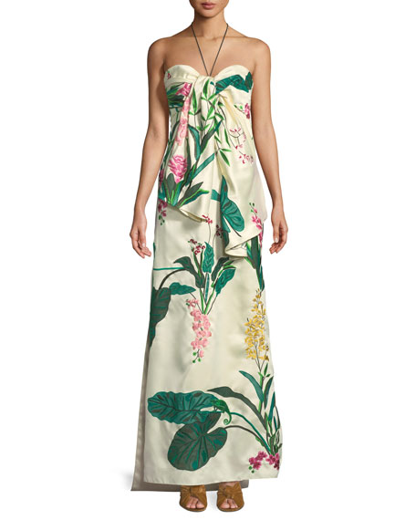 Market Gardens Satin Twill Gown with Removable Train