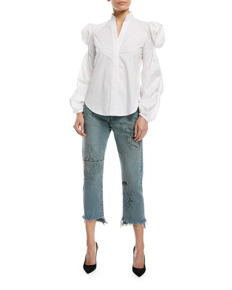Coordinata Map Of Colombia Straight-Leg Frayed-Hem Ankle Jeans