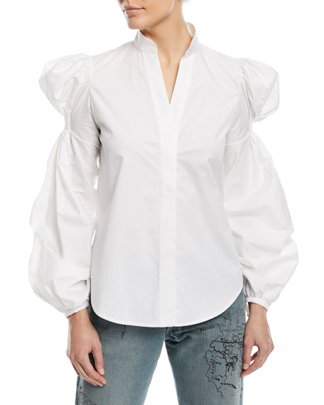 Azores Mandarin-Collar Ruched-Arm Long-Sleeve Poplin Blouse