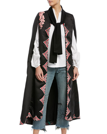 Bizantino Satin Twill Embroidered Cape