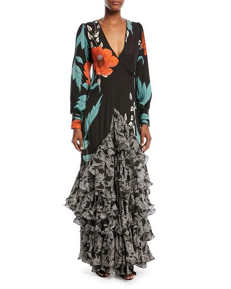 Johanna Ortiz Jade Long-Sleeve Wrap Silk Gown with