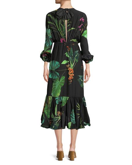 Namibia Long-Sleeves Keyhole Silk Midi Dress