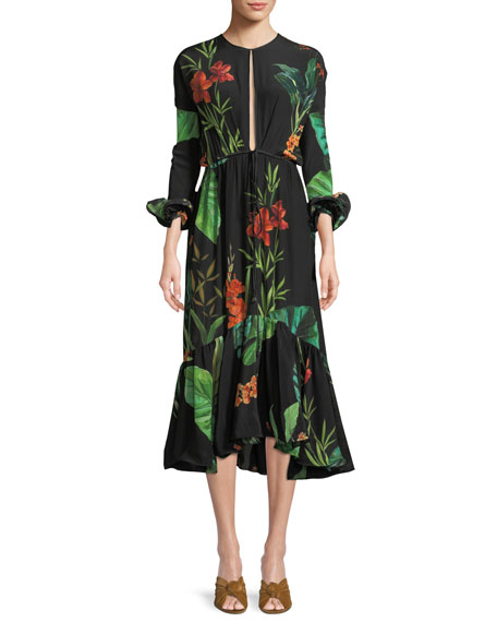 Johanna Ortiz Namibia Long-Sleeves Keyhole Silk Midi Dress