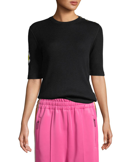 Marc Jacobs Crewneck Daisy Elbow-Sleeve Wool Knit Sweater