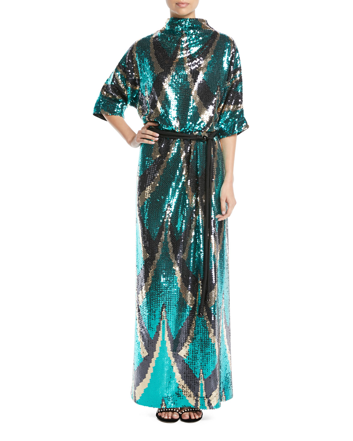 Marc Jacobs Drape Back Belted Sequin Evening Gown Neiman Marcus