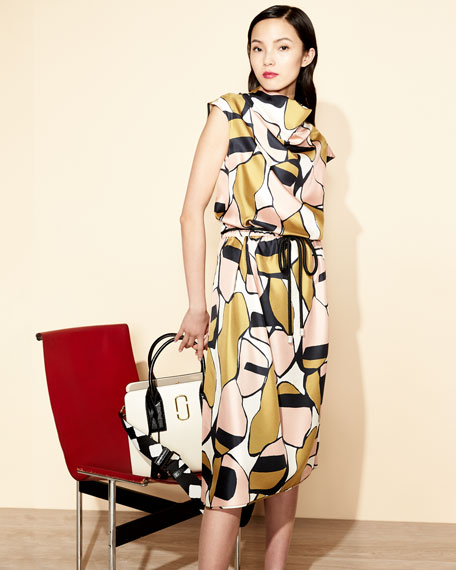 Cap-Sleeve Cowl-Neck Printed Silk Dress