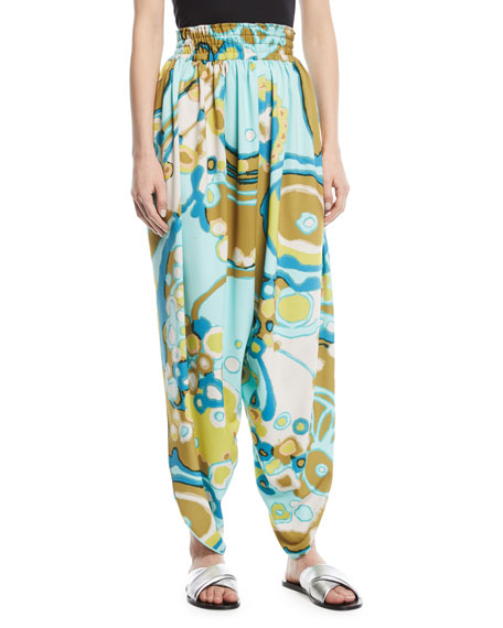 Side-Slit Swirl-Print Harem Pants