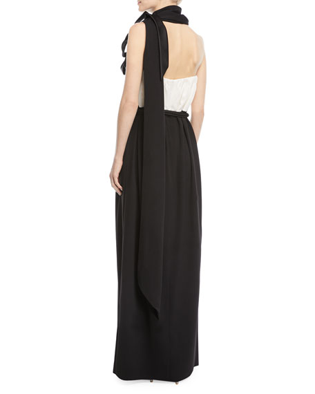 Strapless Belted Two-Tone Evening Gown w/ Bow-Scarf