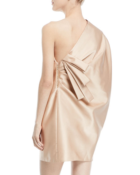 One-Shoulder Satin Draped Mini Cocktail Dress with Back Detail
