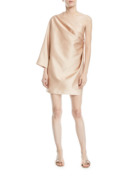 Marc Jacobs One-Shoulder Satin Draped Mini Cocktail Dress