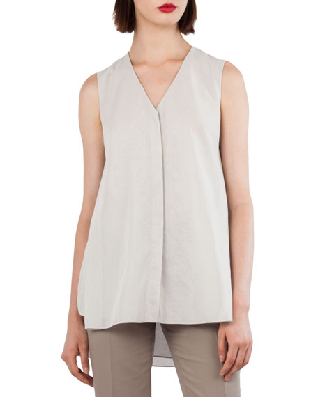 V-Neck Sleeveless Cotton Voile Top