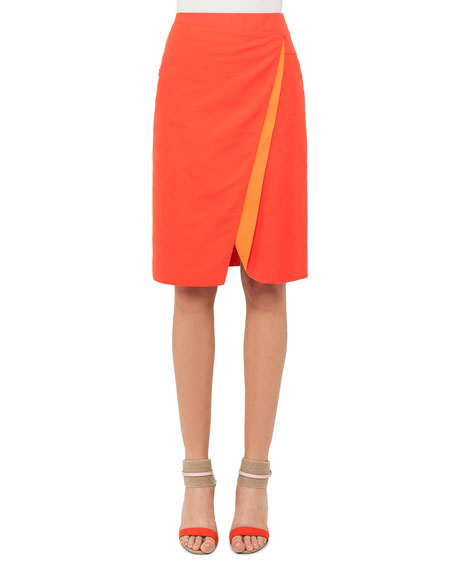 Akris Double-Face Bicolor Wrap Effect Pencil Skirt
