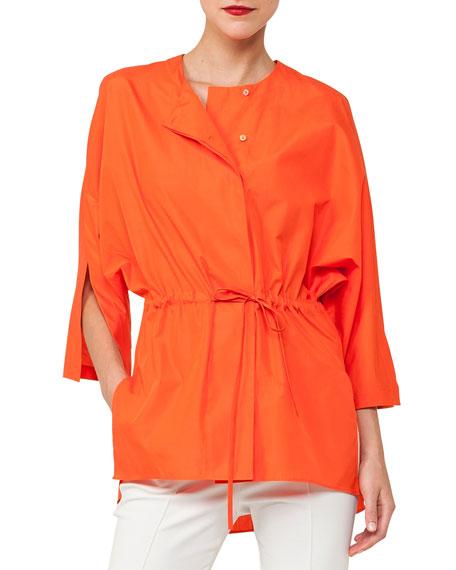 Akris Button-Front Kimono-Sleeve Cotton Poplin Blouse