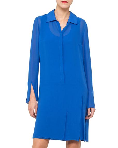 Carwash Long-Sleeve Silk Georgette Shirtdress