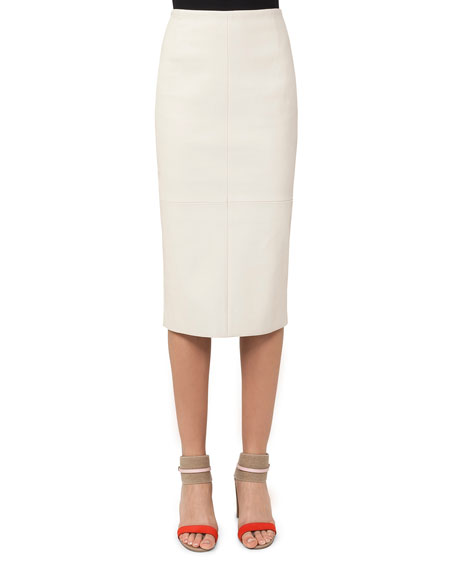 Lamb Leather Midi Pencil Skirt