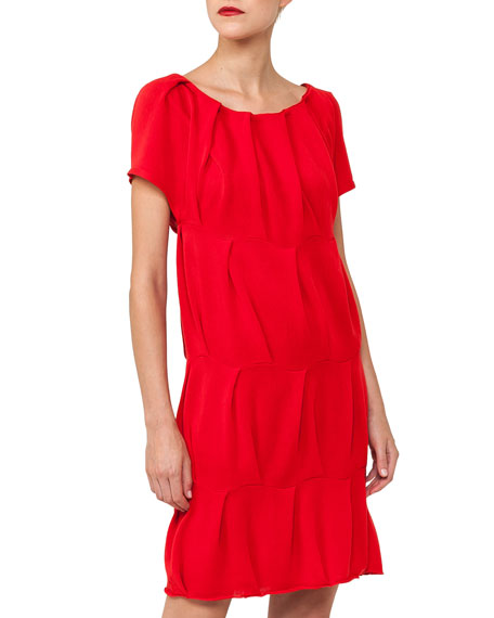 Cap-Sleeve Round-Neck Ruched Knit Cotton Dress