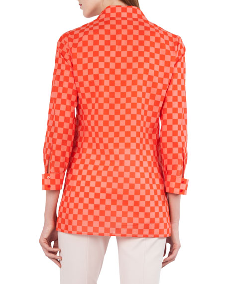 Sun Susie Check & Heart Print Cotton Voile Shirt
