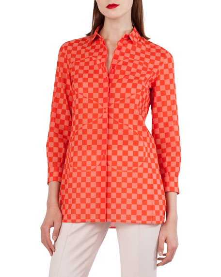 Akris Sun Susie Check & Heart Print Cotton