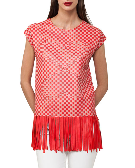 Akris Cap-Sleeve Lamb Napa Leather Top with Fringe