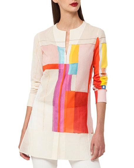 Akris Mural-Print Long-Sleeve Cotton Voile Tunic Blouse